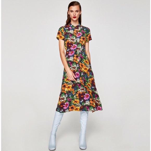 a3cdc273 Zara Dresses | Floral Midi Dress Nwt | Poshmark